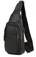 Удобная мужская кожаная сумка-мессенджер на плечо черная