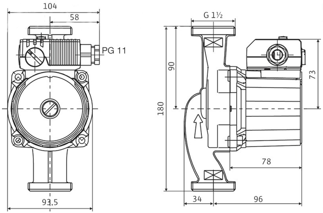 Циркуляционный насос для систем отопления Wilo STAR–RS 25/4–180 размеры