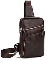 Удобная мужская кожаная сумка-мессенджер на плечо коричневая