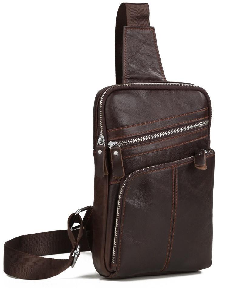 aa7909219d01 Удобная мужская кожаная сумка-мессенджер на плечо коричневая - АксМаркет в  Киеве