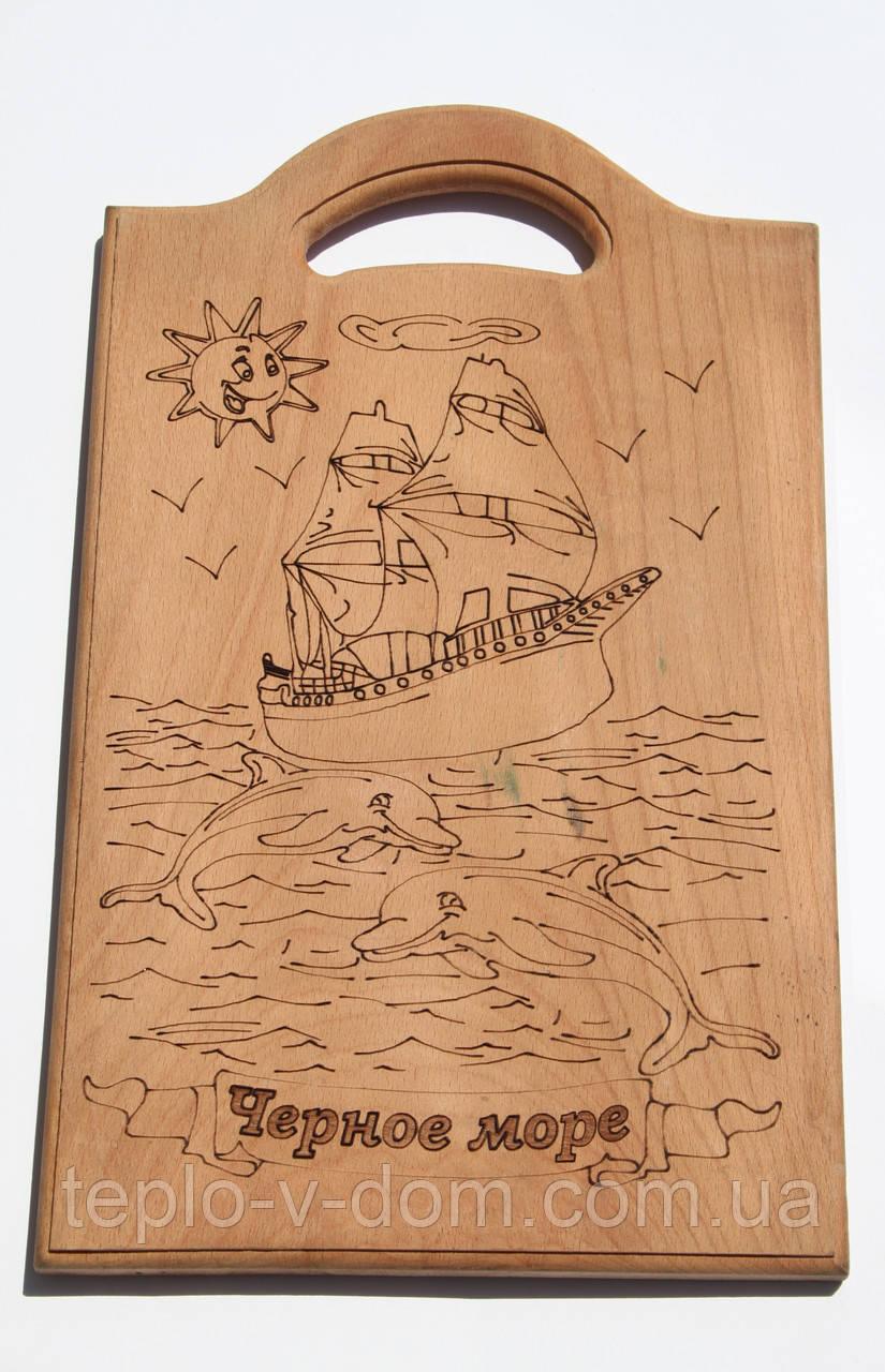 """Доска сувенирная с выжиганием корабля и надписью """"Черное море"""" 24х39 см"""