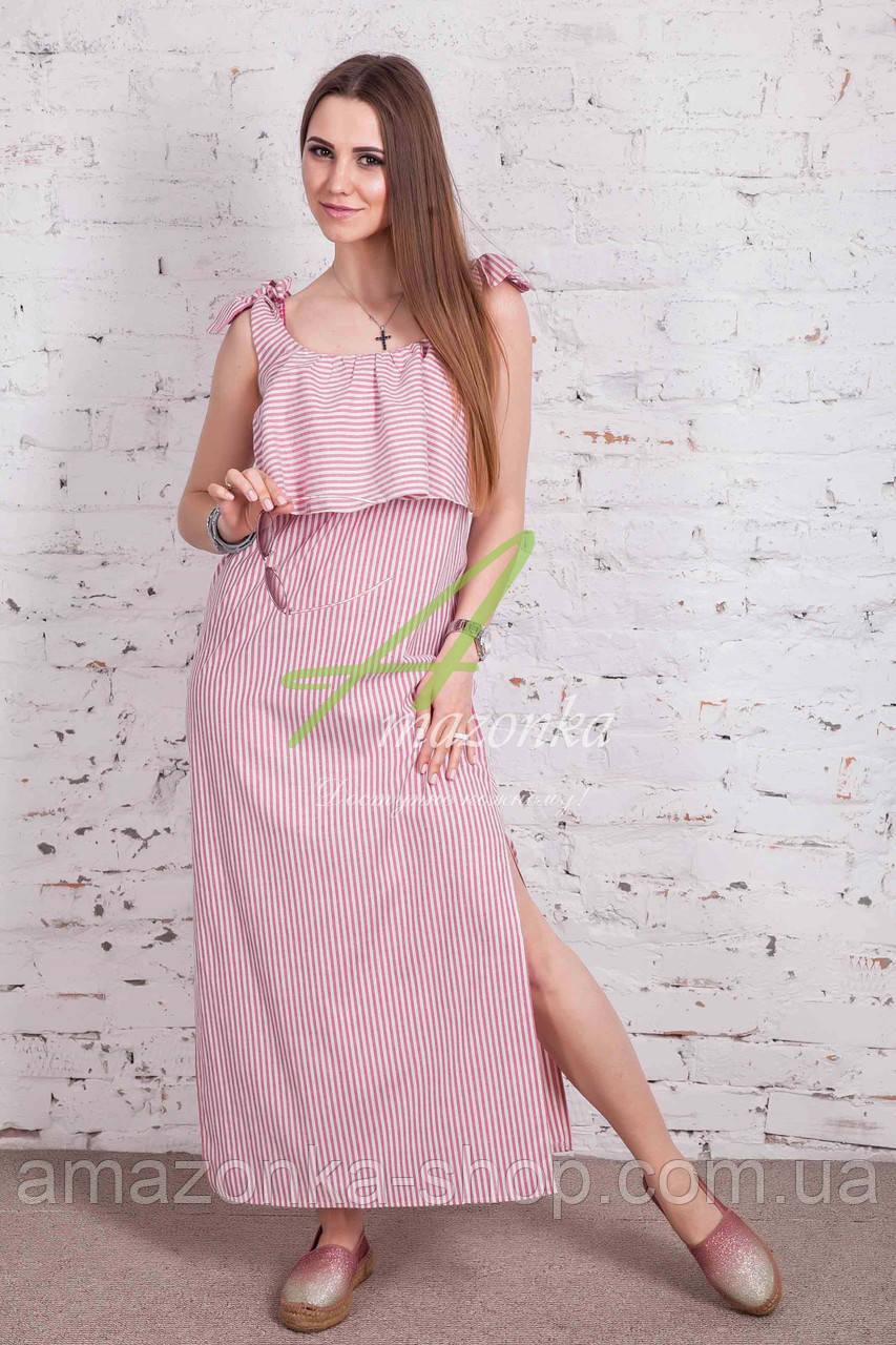 Морское платье в пол в полоску 2018 (новинка) от АМАЗОНКА - Код пл-224