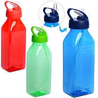 Бутылочка MC06 (60шт) спортивная, пластик, 720мл, с трубочкой, 3цвета, в кульке, 24,5-7,5-6см