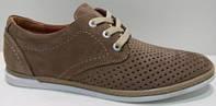 Комфортные мужские туфли светло-коричневого цвета