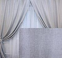 """Комплект готовых штор коллекция """"Лен Мешковина"""" Цвет серый, код 132ш"""