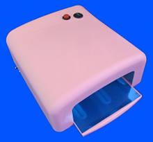 УФ лампа для наращивания ногтей на 36 Вт с таймером на 2 мин , большой размер с предохранителем , розовая.