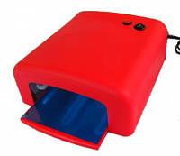 УФ лампа для ногтей на 36 Вт с таймером на 2 мин , большой размер с предохранителем , красная.