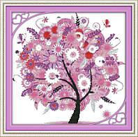 Дерево счастья f370/3  Набор для вышивки крестом с печатью на ткани 14ст