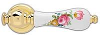 Ручка дверная на розетке Poggi & Mariani Micol латунь полированная / керамика белая с цветами (Италия)