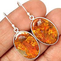"""Серебряные серьги с петерситом  """"Овал"""", от Студии  www.LadyStyle.Biz"""