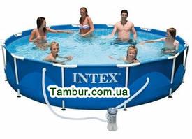 Каркасный бассейн INTEX  METAL FRAME POOL (366 СМ Х 76 СМ)+насос-фильтр+картридж