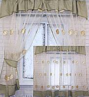 Кухонная занавесь, шторки гардина с подвязками е300