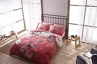 Двуспальное евро постельное белье TAC Botanic Red Сатин-Digital