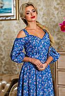 женское летнее платье ниже колен с декольте