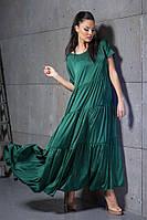 """Летнее шелковое платье-макси """"Armani"""" с коротким рукавом (3 цвета)"""