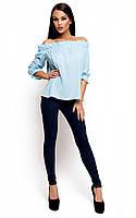 Женская модная блузка голубая, р.42-46
