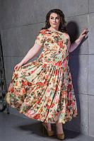 """Длинное шелковое летнее платье """"Armani Folk"""" с принтом и коротким рукавом (большие размеры)"""
