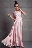 """Атласное летнее платье в пол """"Molly"""" с расклешенной юбкой (5 цветов)"""