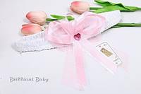 Розовый бант-резинка для конверта на выписку