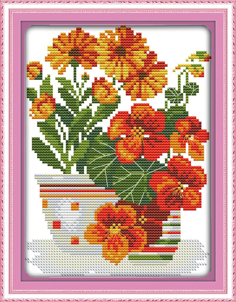 Цветы в вазе H639/2 Набор для вышивки крестом с печатью на ткани 14ст