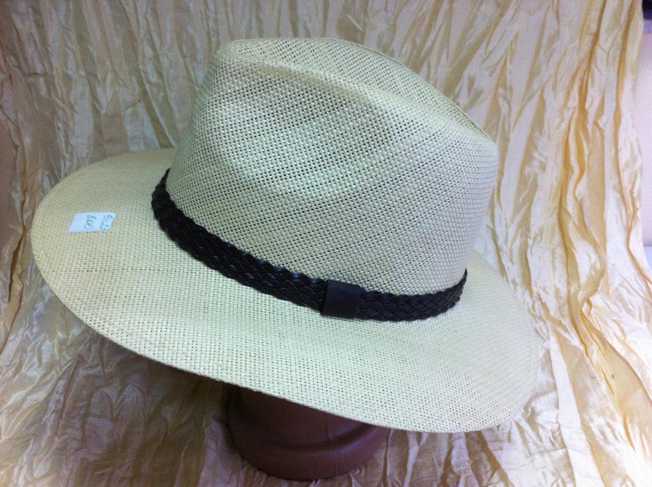 Шляпа летняя бежевая мужская с плетёным ремешком