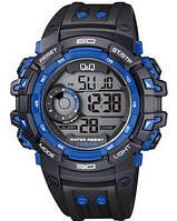 Часы  противоударные Q@Q  Black@Coper 10Bar M143j007y, спортивные, можно плавать