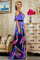 Летнее Легкое Яркое Платье в Пол Сиренево-Синее р. 42-44 46-48 50-52