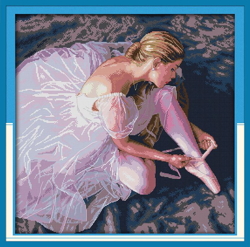 Прекрасная балерина R480 Набор для вышивки крестом с печатью на ткани 14ст