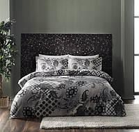 Двуспальное евро постельное белье TAC Orient Grey Сатин-Digital