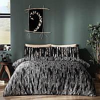 Двуспальное евро постельное белье TAC Selina Black Сатин-Digital