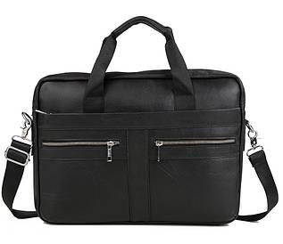 Мужская кожаная сумка для ноутбука черная