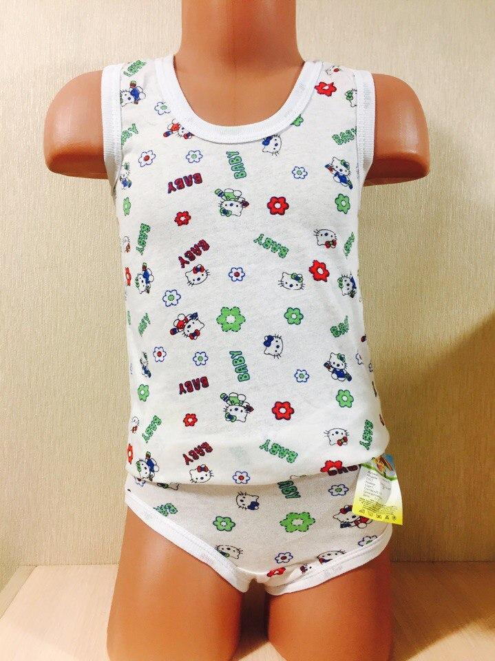 Комплект детский маечка + трусики на девочку размер 26 ( 1-2 года )