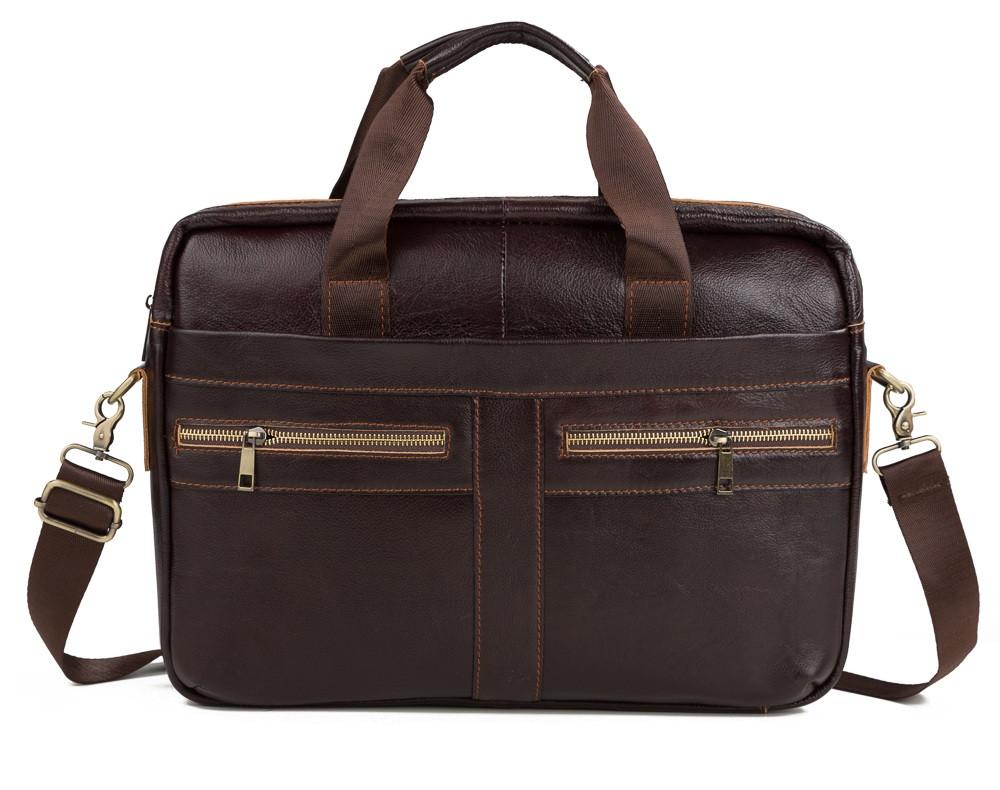 Мужская кожаная сумка для ноутбука коричневая