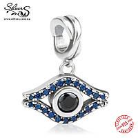 """Серебряная подвеска-шарм Пандора (Pandora) """"Синий глаз"""" для браслета"""