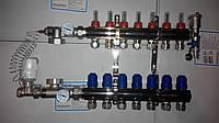 Коллектор для теплого пола в сборе Gross на 7 контуров с 1 сливной никелированный