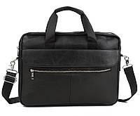 Мужская кожаная сумка-портфель для ноутбука черная (00658)