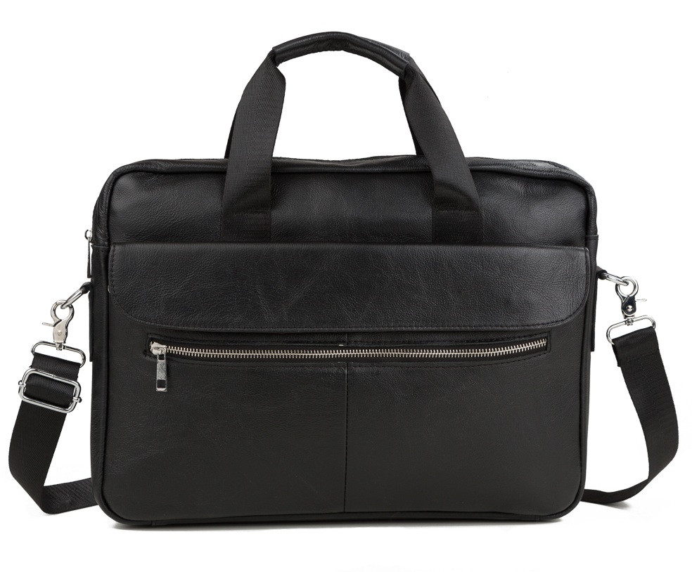 Стильная мужская кожаная сумка для ноутбука черная