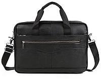 Мужская кожаная сумка-портфель для ноутбука черная (00659)