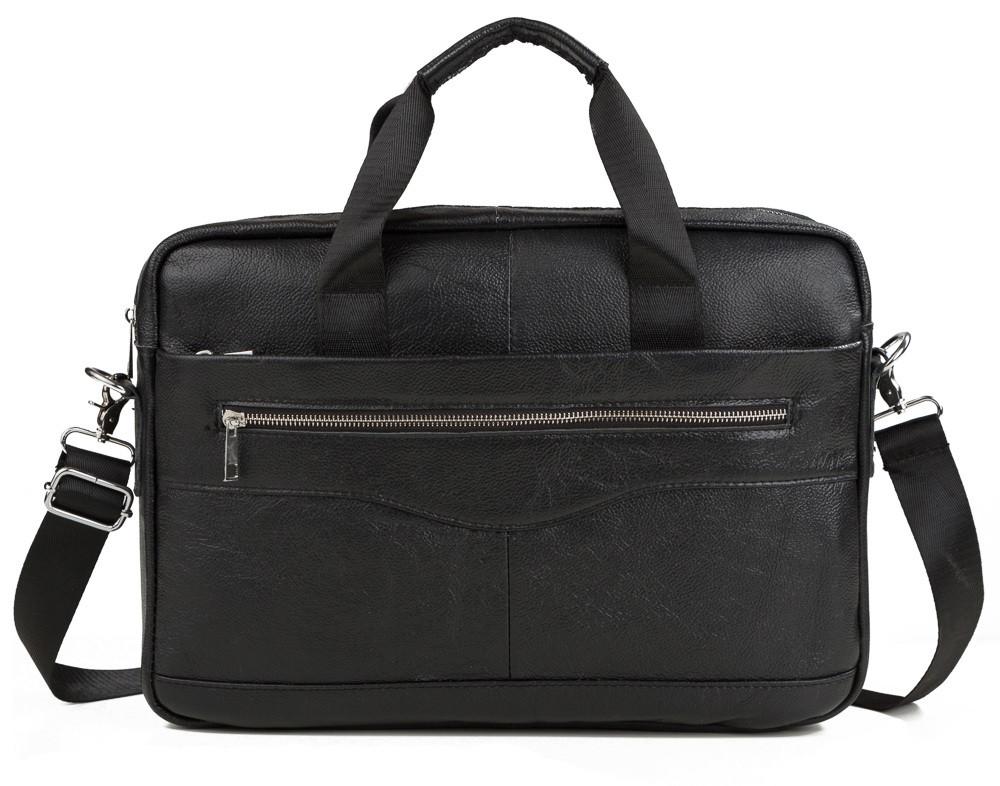 Удобная мужская кожаная сумка для ноутбука черная