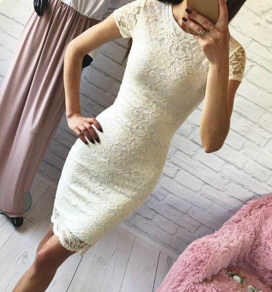 Молочное гипюровое платье  с короткими рукавами