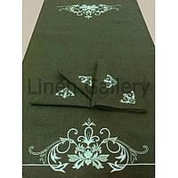 """Комплект подарунковий """"Лувр"""" зелений 60*110 см.+ 4 кольорові серветки 35*35 см."""