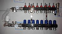 Коллектор для теплого пола в сборе Gross на 8 контуров с 1 сливной никелированный