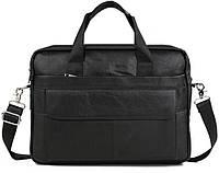 Мужская кожаная сумка-портфель для ноутбука черная (00660)