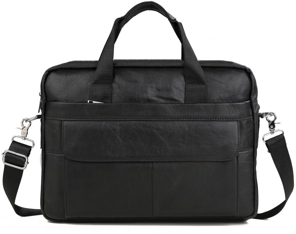 Элегантная мужская кожаная сумка для ноутбука черная