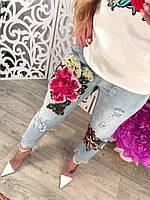 Капри джинсовые с большим цветком