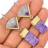Яркие серебряные серьги с чароитом ,  от студии LadyStyle.Biz