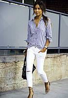 Рубашка женская белая с принтом камнями на воротнике