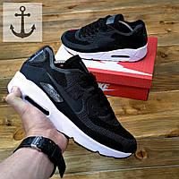 Мужские кроссовки Nike Air Max 90 Flyknit 🔥 (Найк Аир Макс Флайкнит) черные с белым