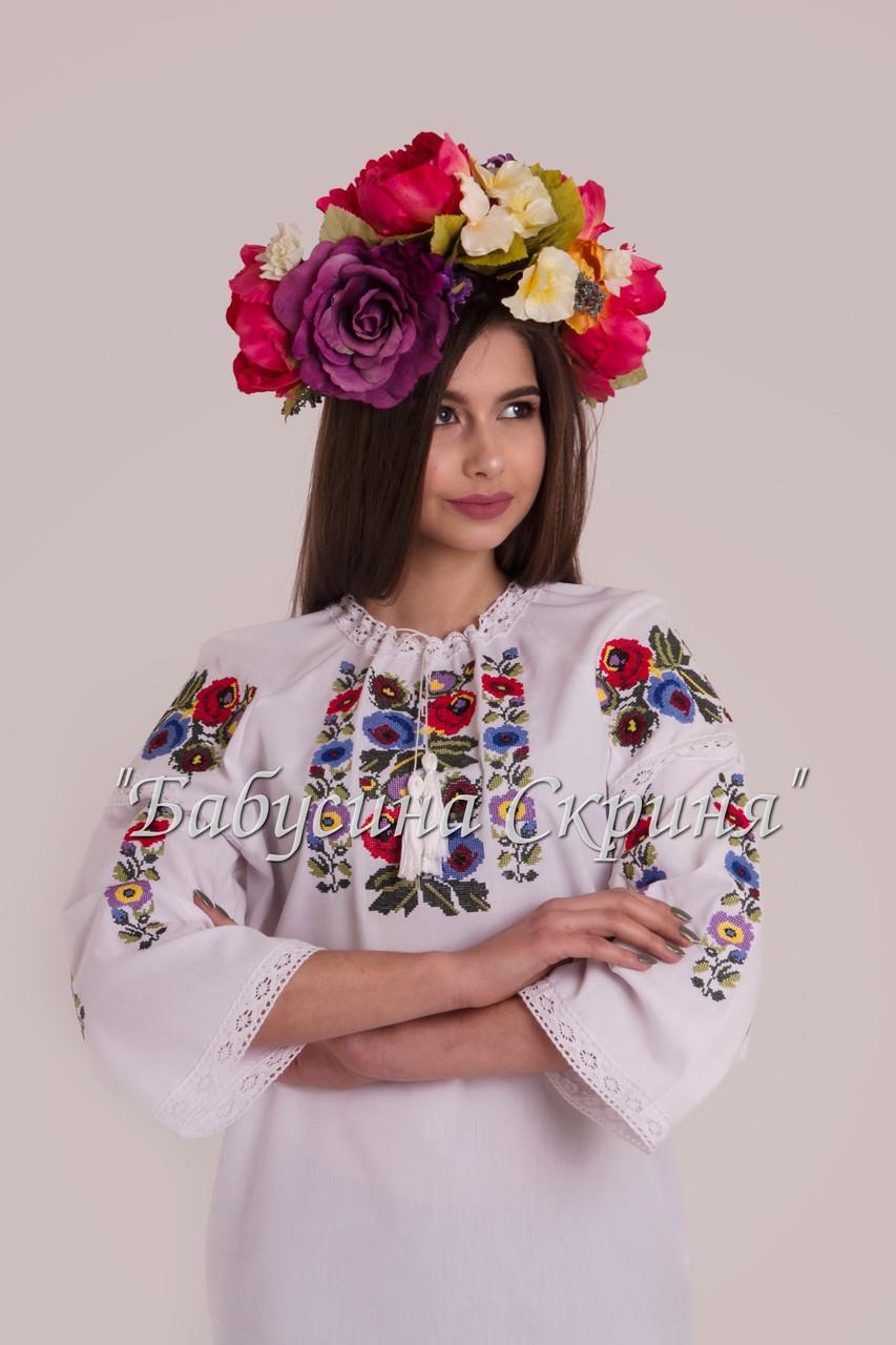 БС-119 Заготовка жіночої вишиванки під бісер/нитку Домоткане біле Дніпро