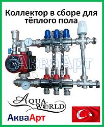 Коллектор для теплого пола AquaWorld на 2 контура в сборе с трехходовым клапаном регулировки температуры
